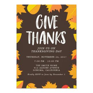 Invitation manuscrite de partie de thanksgiving de
