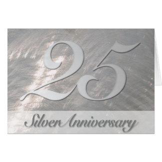 Invitation métallique d'anniversaire d'argent de carte de correspondance