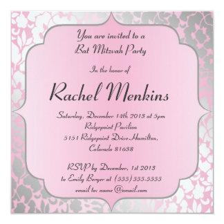 Invitation métallique de bat mitzvah de roses