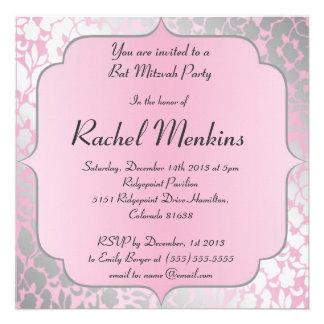Invitation métallique de bat mitzvah de roses pâle