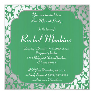Invitation métallique de bat mitzvah de vert vert