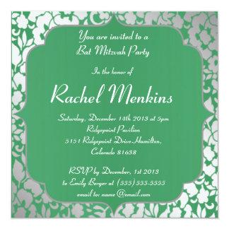 Invitation métallique de bat mitzvah de vert vert carton d'invitation  13,33 cm