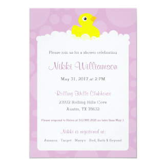 Invitation mignonne en caoutchouc de baby shower -