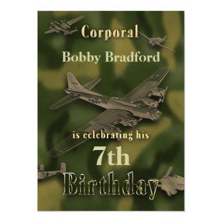 Invitation militaire d'anniversaire de garçons -