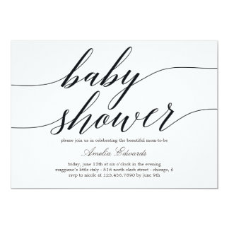 Invitation moderne de baby shower de manuscrit