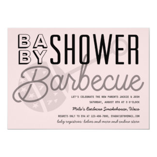 Invitation moderne de barbecue de baby shower de
