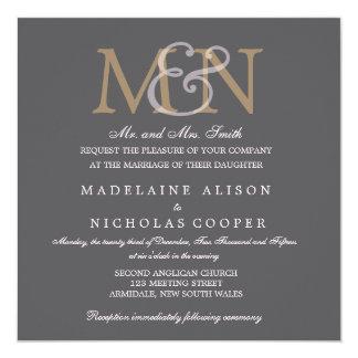 Invitation moderne de mariage de charbon de bois