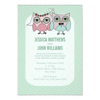 Invitation moderne de mariage de couples de hibou