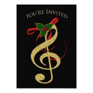 Invitation musicale - Noël - G-Clef en or