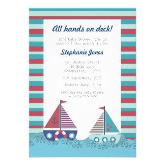 Invitation nautique bleu rouge de baby shower de b