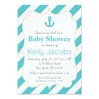 Invitation nautique de baby shower de turquoise et