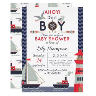 Invitation nautique de douche de bébé de voilier