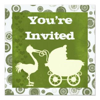 Invitation neutre de baby shower de cigogne et de