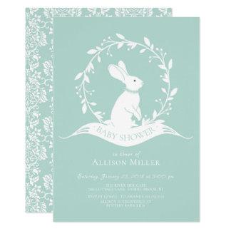 Invitation neutre de baby shower de lapin doux