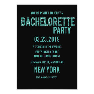 Invitation noir de Bachelorette de typographie de