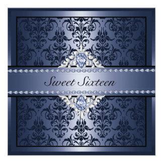 Invitation noir et bleu élégant de la damassé Swee