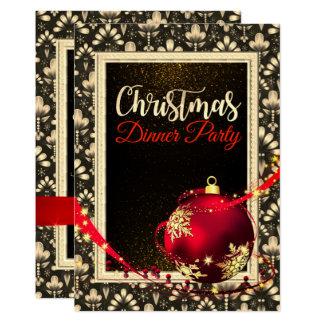 Invitation noir et d'or fascinant de dîner de Noël