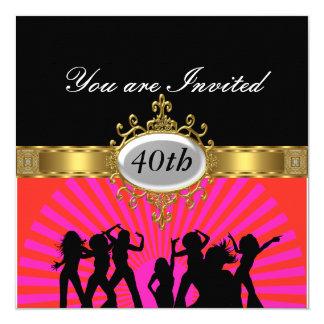 Invitation noire de charme de fête d'anniversaire