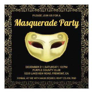 Invitation noire élégante de partie de mascarade