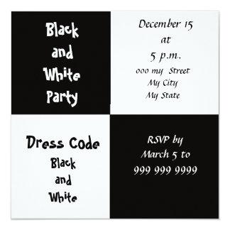 Invitation noire et blanche de partie