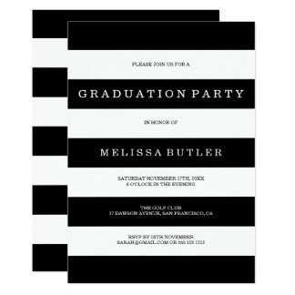 Invitation noire et blanche d'obtention du diplôme