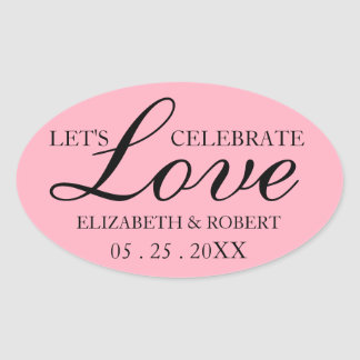 Invitation nuptiale d'autocollant rose ovale de sticker ovale