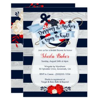 Invitation nuptiale de douche d'ancre - marine