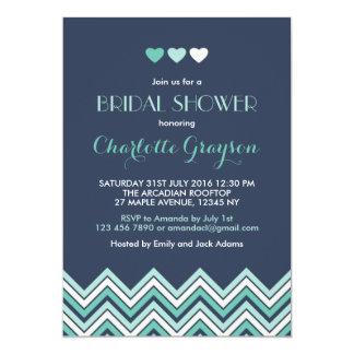 Invitation nuptiale de douche de Chevron d'Aqua de