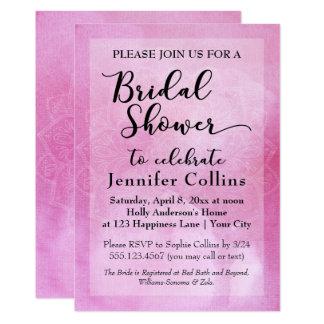 Invitation nuptiale de douche de mandala rose