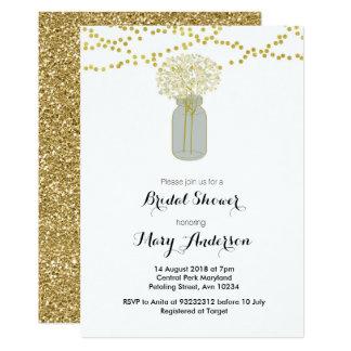Invitation nuptiale de douche de pot de maçon d'or