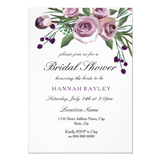 Invitation nuptiale de douche de prune de rose