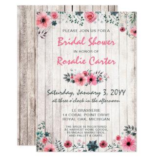 Invitation nuptiale de douche de roses minables en