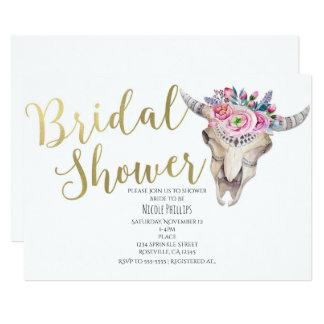 Invitation nuptiale de douche de vache d'or floral