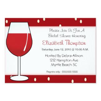 Invitation nuptiale de douche de vin rouge