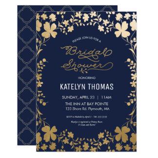 Invitation nuptiale de douche, fleur vintage d'or