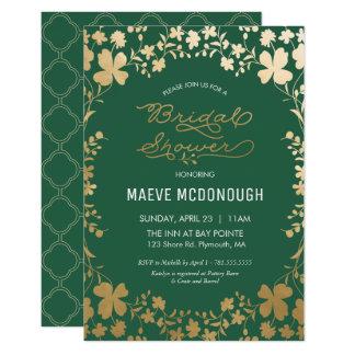 Invitation nuptiale de douche, vert vintage et or
