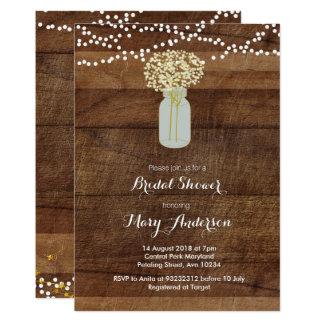 Invitation nuptiale en bois de douche de pot de