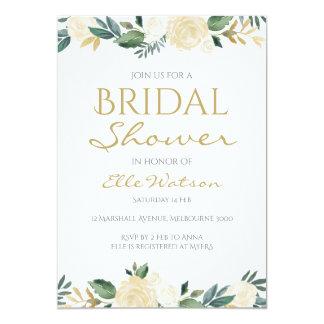 Invitation nuptiale florale ene ivoire de douche,