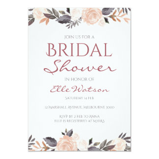 Invitation nuptiale florale rose de douche,