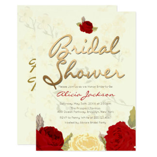 Invitation nuptiale florale rouge et ene ivoire