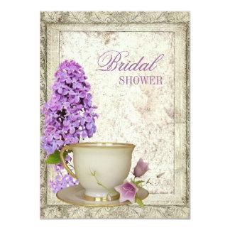 invitation nuptiale lilas pourpre de thé de douche