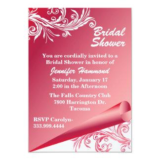 Invitation nuptiale rose et blanche chic de douche