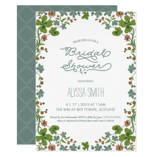 Invitation nuptiale vintage de douche - jardin,