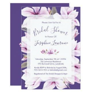 Invitation nuptiale violette de douche de magnolia