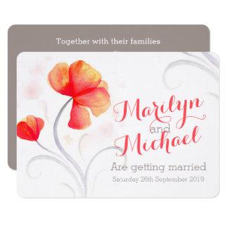 Invitation orange de mariage de fleur sauvage