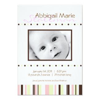 Invitation Points et rayures - bébé Annoucement - rose