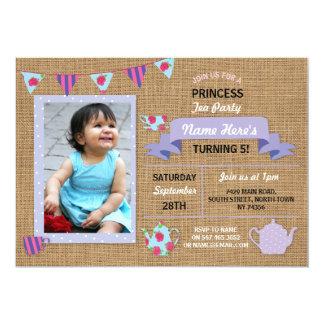 Invitation pourpre d'anniversaire de princesse thé