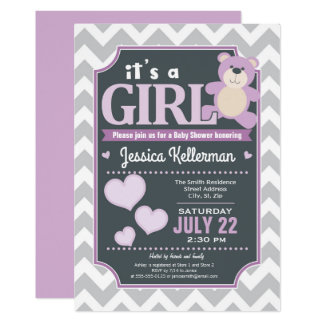 Invitation pourpre de baby shower de fille de