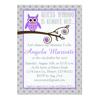 Invitation pourpre de baby shower de hibou