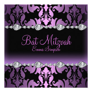 Invitation pourpre de bat mitzvah de damassé et de